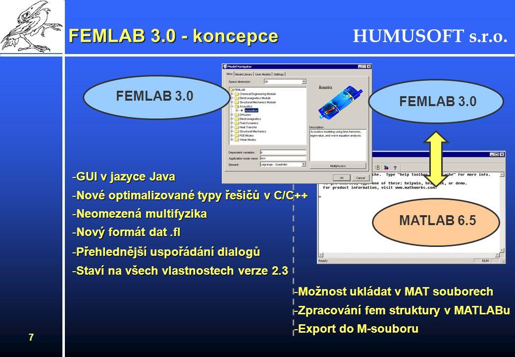 HUMUSOFT s.r.o. 7 FEMLAB 3.0 - koncepce FEMLAB 3.0 MATLAB 6.5 -GUI v jazyce Java -Nové optimalizované typy řešičů v C/C++ -Neomezená multifyzika -Nový