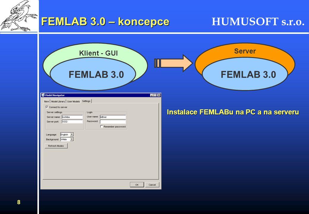 HUMUSOFT s.r.o. 8 Klient - GUI FEMLAB 3.0 – koncepce FEMLAB 3.0 Server FEMLAB 3.0 Instalace FEMLABu na PC a na serveru