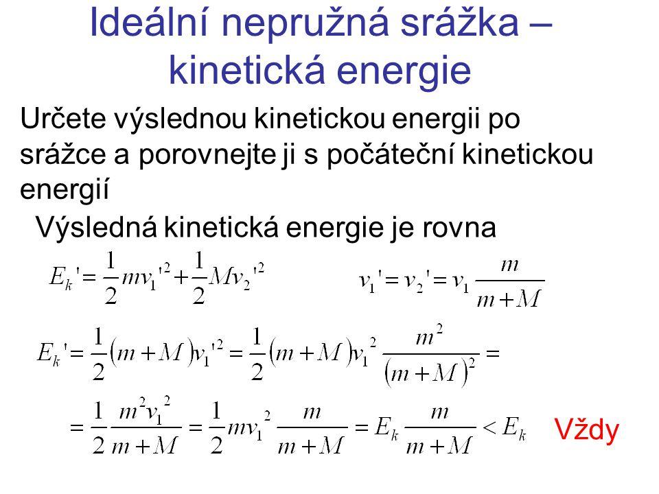 Ideální pružná srážka Určete výsledné rychlosti v 1 ' a v 2 ' střely a terče Zákon zachování hybnosti Zákon zachování energie