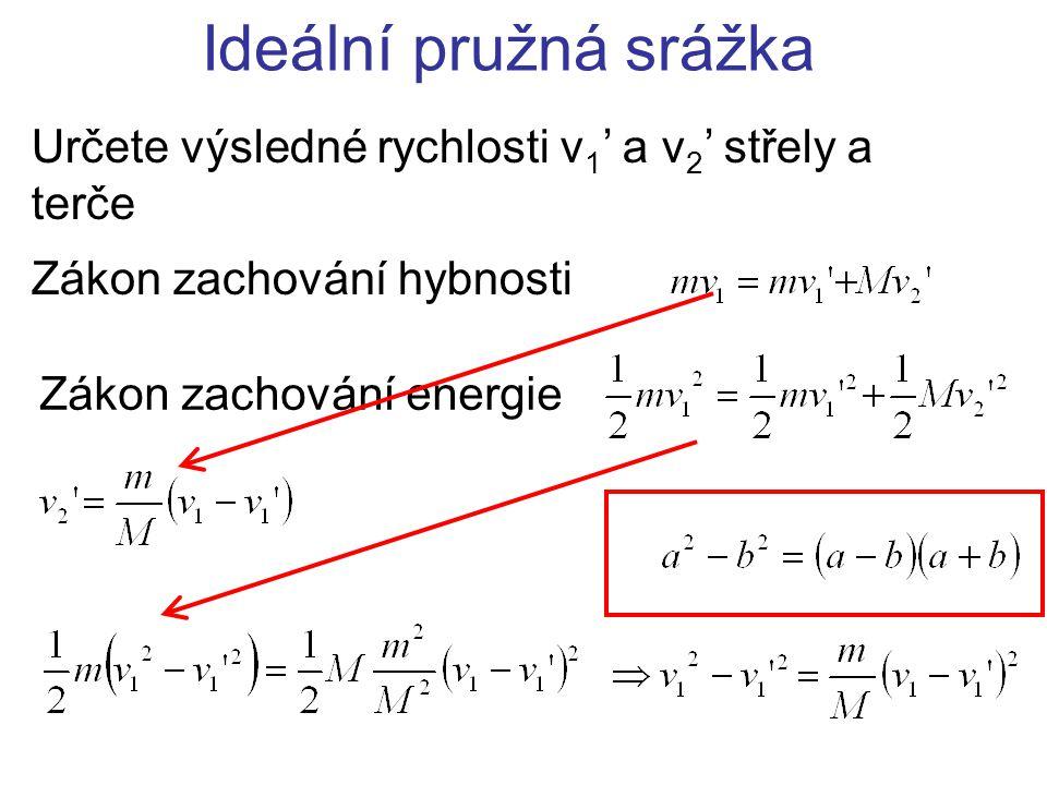 Ideální pružná srážka Určete výsledné rychlosti v 1 ' a v 2 ' střely a terče