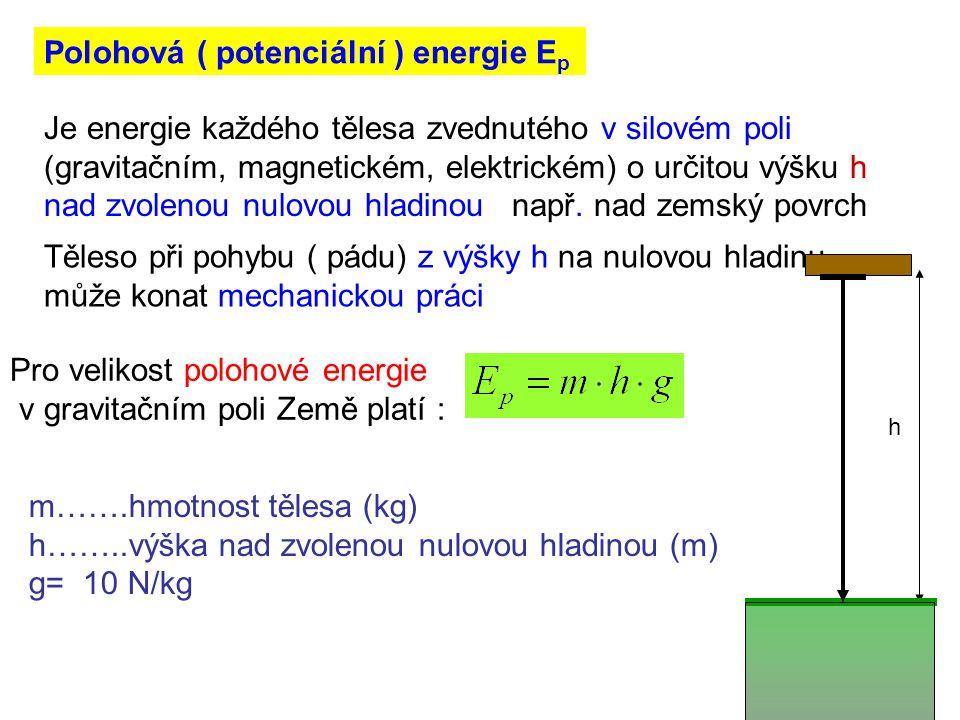 Polohová ( potenciální ) energie E p Je energie každého tělesa zvednutého v silovém poli (gravitačním, magnetickém, elektrickém) o určitou výšku h nad