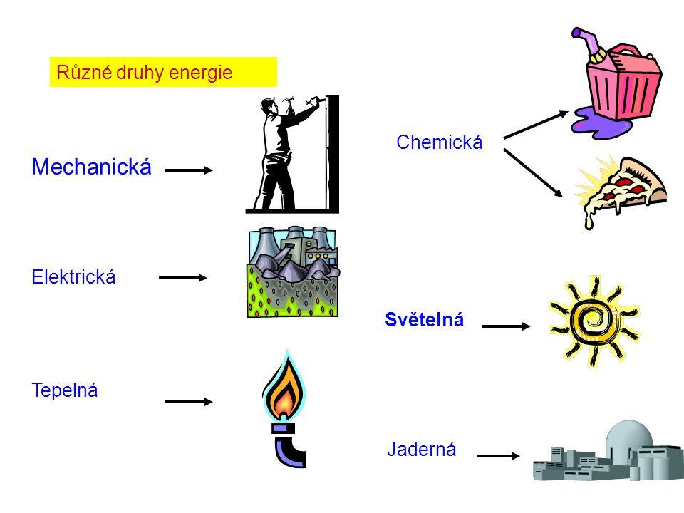 Různé druhy energie Mechanická Elektrická Tepelná Chemická Jaderná Světelná