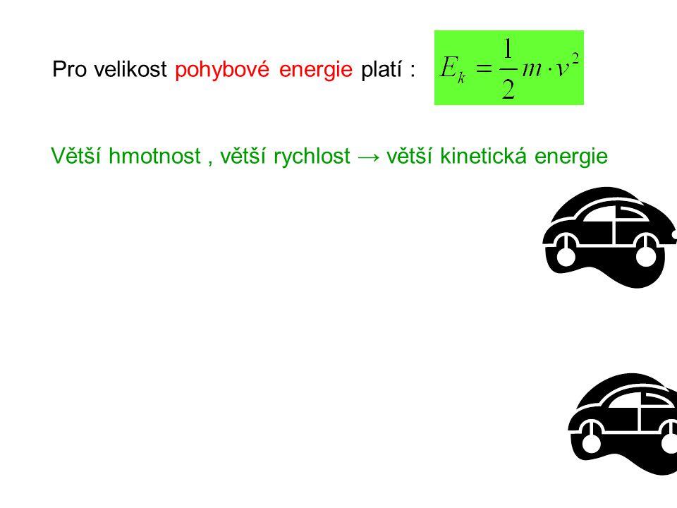 Pro velikost pohybové energie platí : Větší hmotnost, větší rychlost → větší kinetická energie