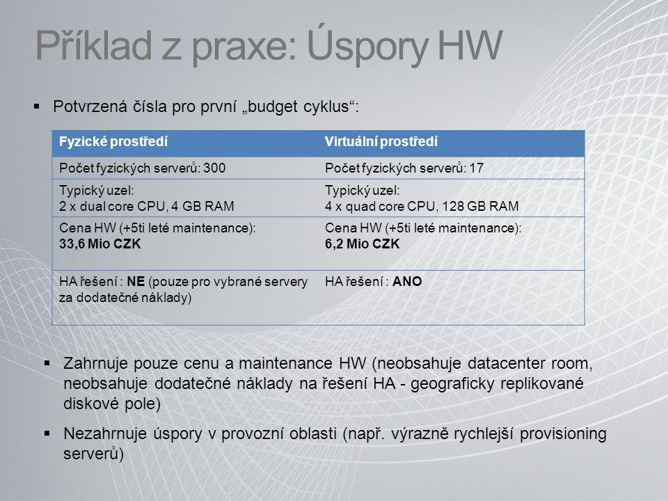 """Příklad z praxe: Úspory HW  Potvrzená čísla pro první """"budget cyklus : Fyzické prostředíVirtuální prostředí Počet fyzických serverů: 300Počet fyzických serverů: 17 Typický uzel: 2 x dual core CPU, 4 GB RAM Typický uzel: 4 x quad core CPU, 128 GB RAM Cena HW (+5ti leté maintenance): 33,6 Mio CZK Cena HW (+5ti leté maintenance): 6,2 Mio CZK HA řešení : NE (pouze pro vybrané servery za dodatečné náklady) HA řešení : ANO  Zahrnuje pouze cenu a maintenance HW (neobsahuje datacenter room, neobsahuje dodatečné náklady na řešení HA - geograficky replikované diskové pole)  Nezahrnuje úspory v provozní oblasti (např."""
