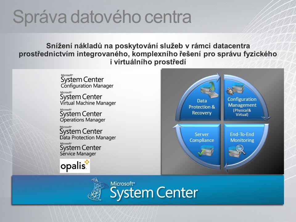 Správa životního cyklu serverů Nasazení HW Zajištění výkonu PatchingMonitoring Backup Disaster Recovery Správa Virtuálních strojů Správa Virtuálních strojů Konsolidace serverů a optimalizace využití zdrojů (Hyper-v, VMware) Konsolidace serverů a optimalizace využití zdrojů (Hyper-v, VMware) Konverze: P2V a V2V Konverze: P2V a V2V Správa Virtuálních strojů Správa Virtuálních strojů Konsolidace serverů a optimalizace využití zdrojů (Hyper-v, VMware) Konsolidace serverů a optimalizace využití zdrojů (Hyper-v, VMware) Konverze: P2V a V2V Konverze: P2V a V2V Instalace OS a aplikací Instalace OS a aplikací Patch management Patch management HW a SW inventůra HW a SW inventůra Sledování využití SW Sledování využití SW Instalace OS a aplikací Instalace OS a aplikací Patch management Patch management HW a SW inventůra HW a SW inventůra Sledování využití SW Sledování využití SW Kontinuální zálohování (15min) Kontinuální zálohování (15min) Rychlá obnova i holého železaRychlá obnova i holého železa Live backup na úrovni Hyper-v Live backup na úrovni Hyper-v Live backup na úrovni VMs Live backup na úrovni VMs Kontinuální zálohování (15min) Kontinuální zálohování (15min) Rychlá obnova i holého železaRychlá obnova i holého železa Live backup na úrovni Hyper-v Live backup na úrovni Hyper-v Live backup na úrovni VMs Live backup na úrovni VMs Dohled nad celou firmou (od HW, SW MS, Linux...