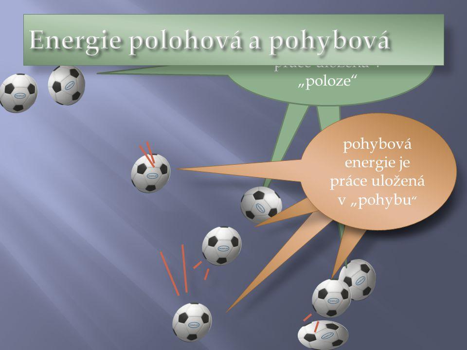 """polohová energie je práce uložená v """"poloze"""" pohybová energie je práce uložená v """"pohybu """""""