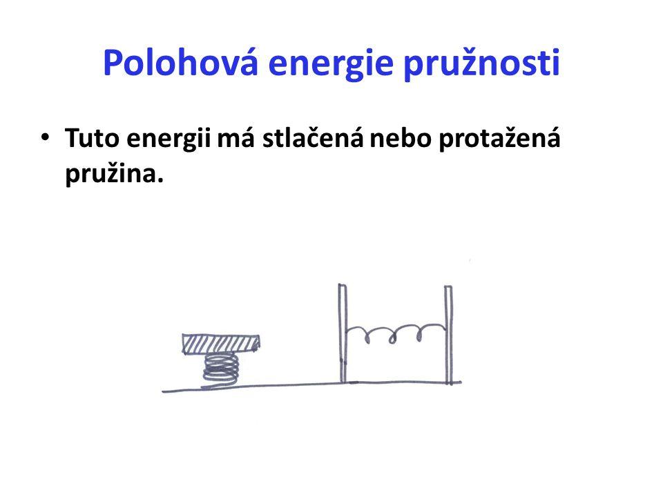 Polohová energie pružnosti Tuto energii má stlačená nebo protažená pružina.