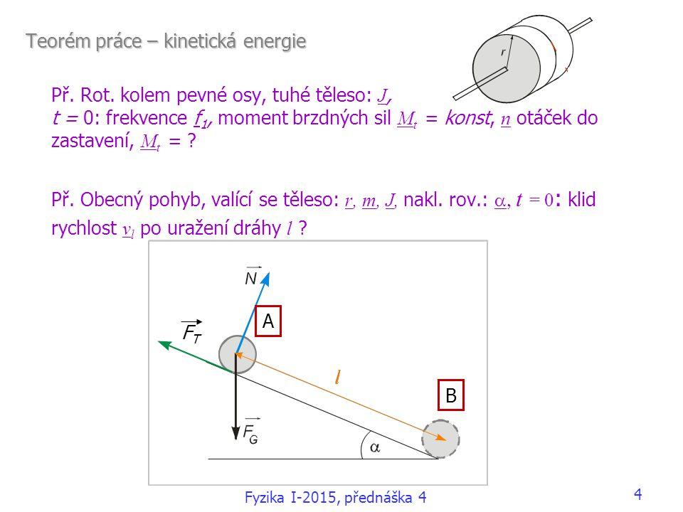 Teorém práce – kinetická energie Př. Rot. kolem pevné osy, tuhé těleso: J, t = 0: frekvence f 1, moment brzdných sil M t = konst, n otáček do zastaven