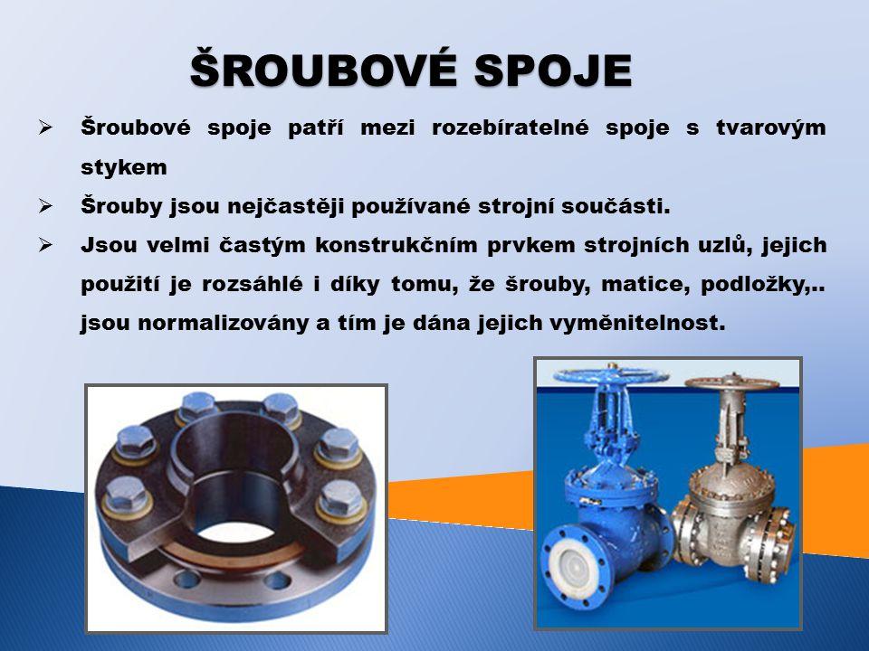 ŠROUBOVÉ SPOJE  Šroubové spoje patří mezi rozebíratelné spoje s tvarovým stykem  Šrouby jsou nejčastěji používané strojní součásti.  Jsou velmi čas