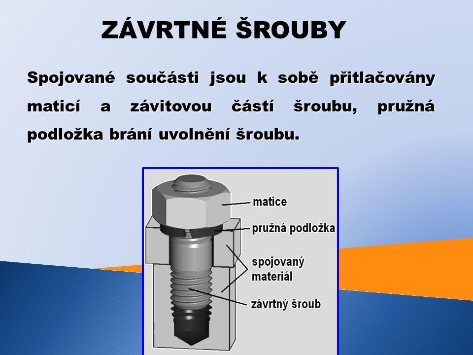 ZAVRTANÉ ŠROUBY Spojované součásti jsou k sobě přitlačovány kuželovou hlavou a závitovou částí šroubu.