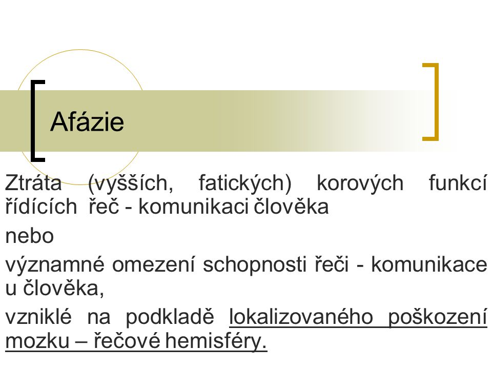 Kondukční afázie Kondukční – převodová afázie vzniká následkem léze levého temporálního laloku a přilehlých subkortikálních struktur.