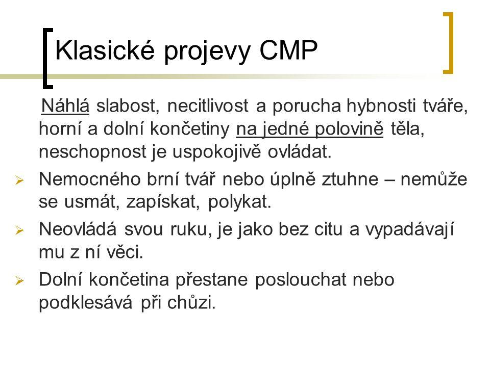 Klasické projevy CMP Náhlá slabost, necitlivost a porucha hybnosti tváře, horní a dolní končetiny na jedné polovině těla, neschopnost je uspokojivě ov