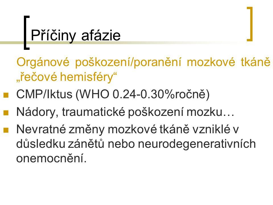 """Příčiny afázie Orgánové poškození/poranění mozkové tkáně """"řečové hemisféry"""" CMP/Iktus (WHO 0.24-0.30%ročně) Nádory, traumatické poškození mozku… Nevra"""