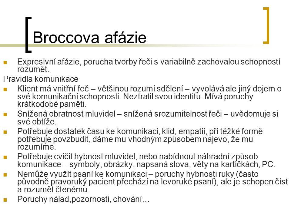 Broccova afázie Expresivní afázie, porucha tvorby řeči s variabilně zachovalou schopností rozumět. Pravidla komunikace Klient má vnitřní řeč – většino