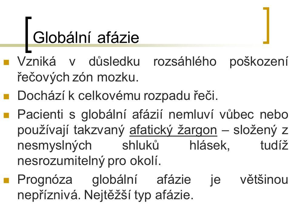Globální afázie Vzniká v důsledku rozsáhlého poškození řečových zón mozku. Dochází k celkovému rozpadu řeči. Pacienti s globální afázií nemluví vůbec
