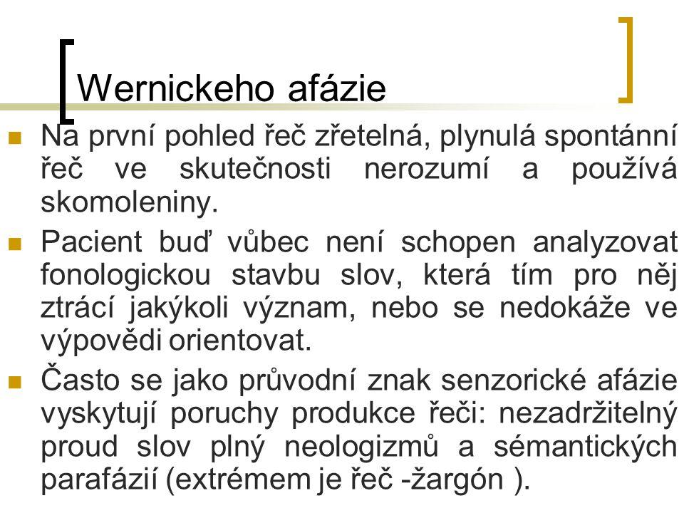 Wernickeho afázie Na první pohled řeč zřetelná, plynulá spontánní řeč ve skutečnosti nerozumí a používá skomoleniny. Pacient buď vůbec není schopen an