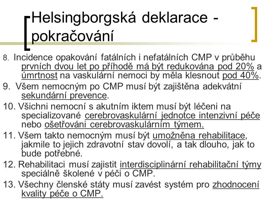 Helsingborgská deklarace - pokračování 8. Incidence opakování fatálních i nefatálních CMP v průběhu prvních dvou let po příhodě má být redukována pod