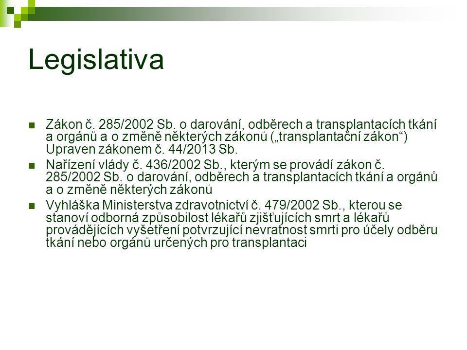 """Legislativa Zákon č. 285/2002 Sb. o darování, odběrech a transplantacích tkání a orgánů a o změně některých zákonů (""""transplantační zákon"""") Upraven zá"""