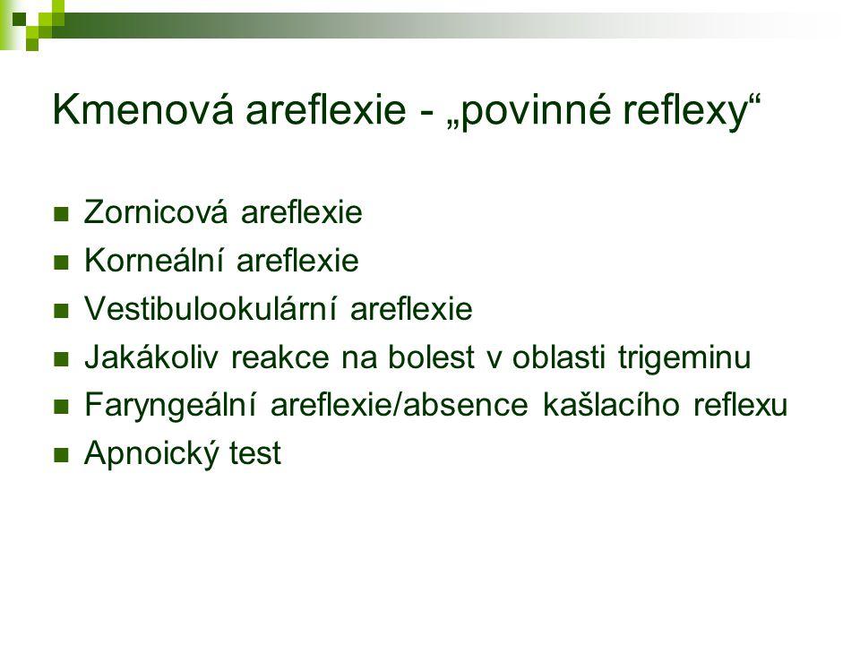 """Kmenová areflexie - """"povinné reflexy"""" Zornicová areflexie Korneální areflexie Vestibulookulární areflexie Jakákoliv reakce na bolest v oblasti trigemi"""