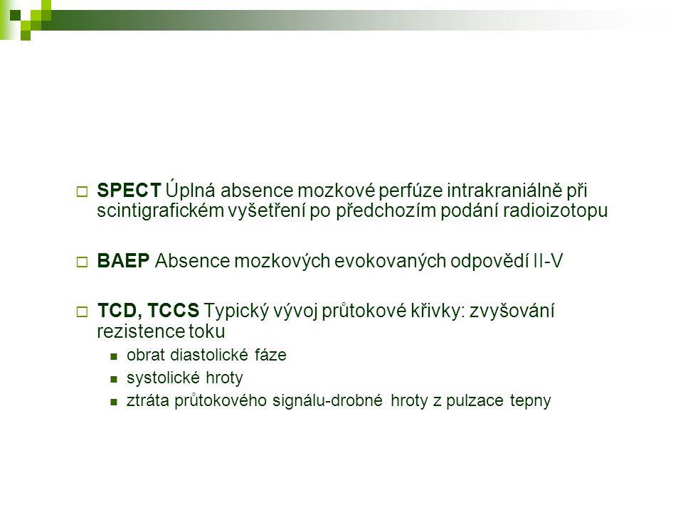  SPECT Úplná absence mozkové perfúze intrakraniálně při scintigrafickém vyšetření po předchozím podání radioizotopu  BAEP Absence mozkových evokovan