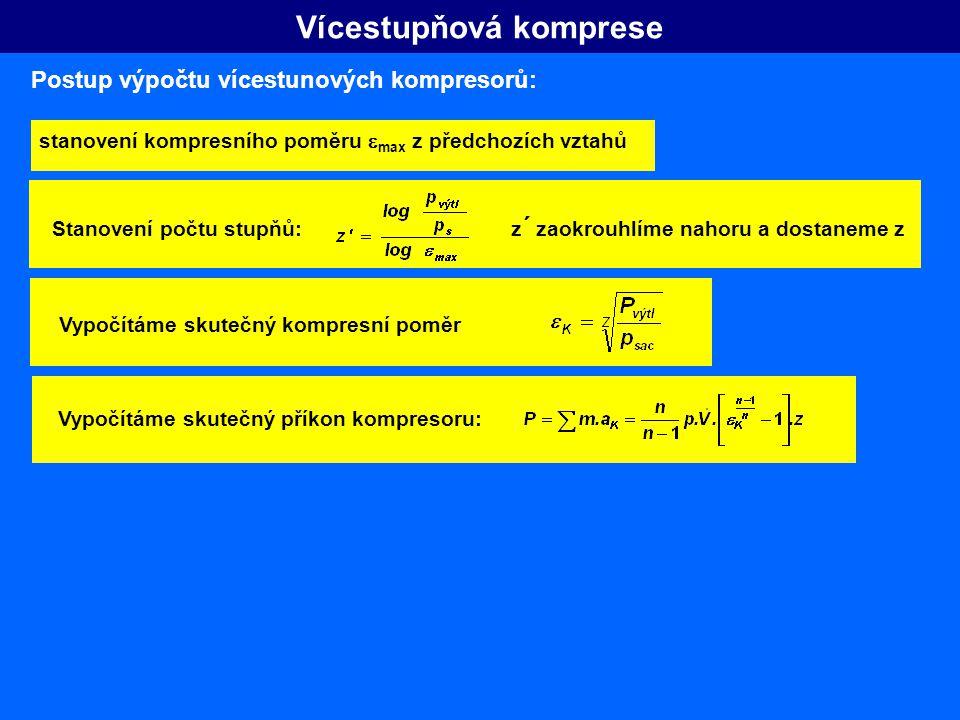 Vícestupňová komprese Postup výpočtu vícestunových kompresorů: stanovení kompresního poměru  max z předchozích vztahů Stanovení počtu stupňů: z ´ zao