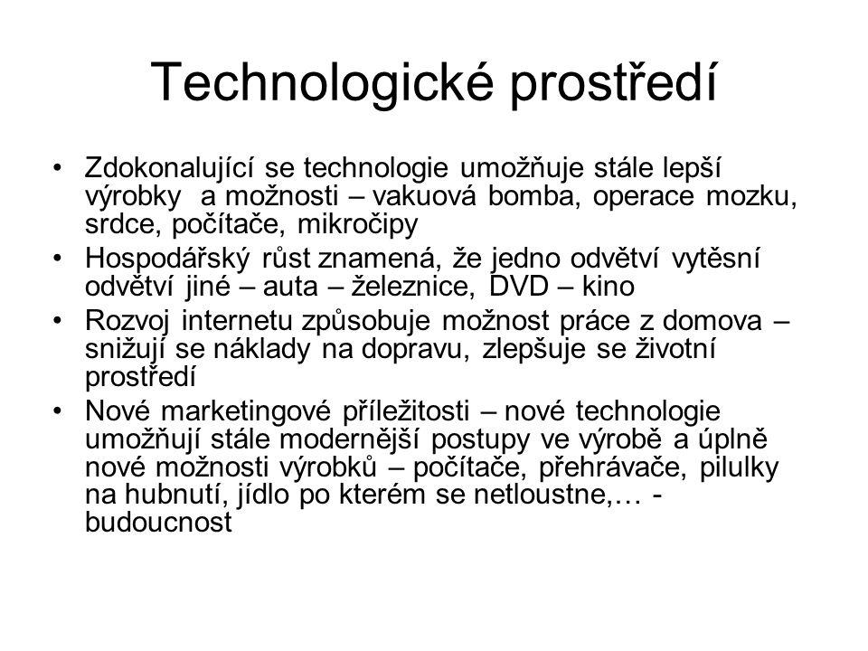 Technologické prostředí Zdokonalující se technologie umožňuje stále lepší výrobky a možnosti – vakuová bomba, operace mozku, srdce, počítače, mikročip