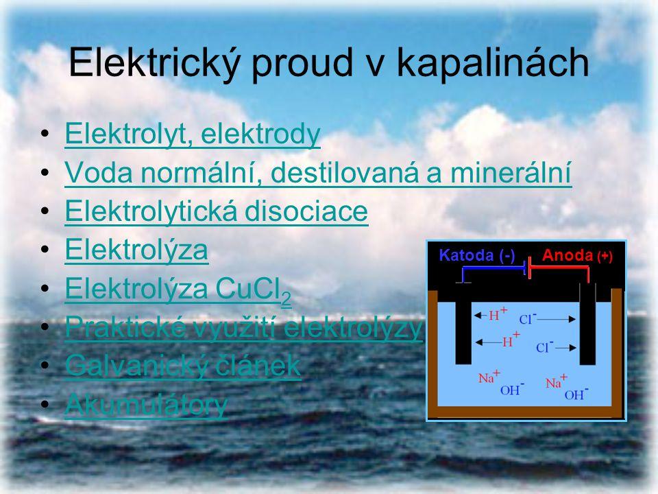 Elektrický proud v kapalinách Elektrolyt, elektrody Voda normální, destilovaná a minerální Elektrolytická disociace Elektrolýza Elektrolýza CuCl 2Elek