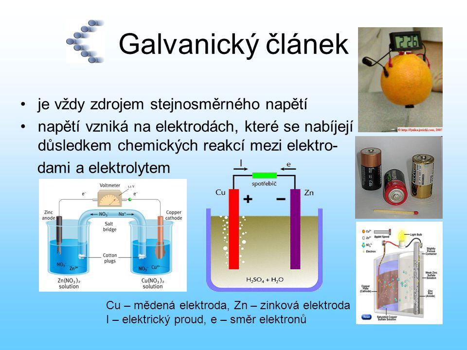 Akumulátory  po zapojení článku do elektrického obvodu probíhají uvnitř článku reakce, kterými se postupně snižuje elektrická energie uložená v článku, článek se vybíjí tyto reakce mohou být :  nevratné - napětí článku se po vybití nedá obnovit (primární články)  vratné - článek se dá znova nabít ( sekundární články – také akumulátory)  olověný akumulátor je galvanický článek s elektrodami na bázi olova, jehož elektrolytem je kyselina sírová  napětí jednoho článku:2 V  napětí nabité baterie 6-ti článků:12 V  nabíjením se akumulátor znehodnocuje, až bude nepoužitelný