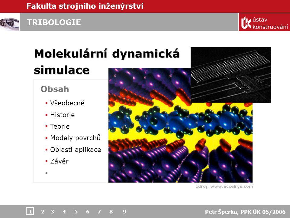 Fakulta strojního inženýrství Petr Šperka, PPK ÚK 05/2006 TRIBOLOGIE – Molekulární dynamická simulace 1 2 3 4 5 6 7 8 9 Počítačová molekulární simulace  Model potenciálů Udržování konstantní teploty  Aplikace zatížení a smýkání Teorie metody 3 *  odvod tepla součástmi  odvod tepla do okolí rovnovážné systémy > udržení konstantní kinetické energie – jednotnou změnou velikosti rychlostí > spojením atomů a lokálními termostaty  nerovnovážné systémy > >