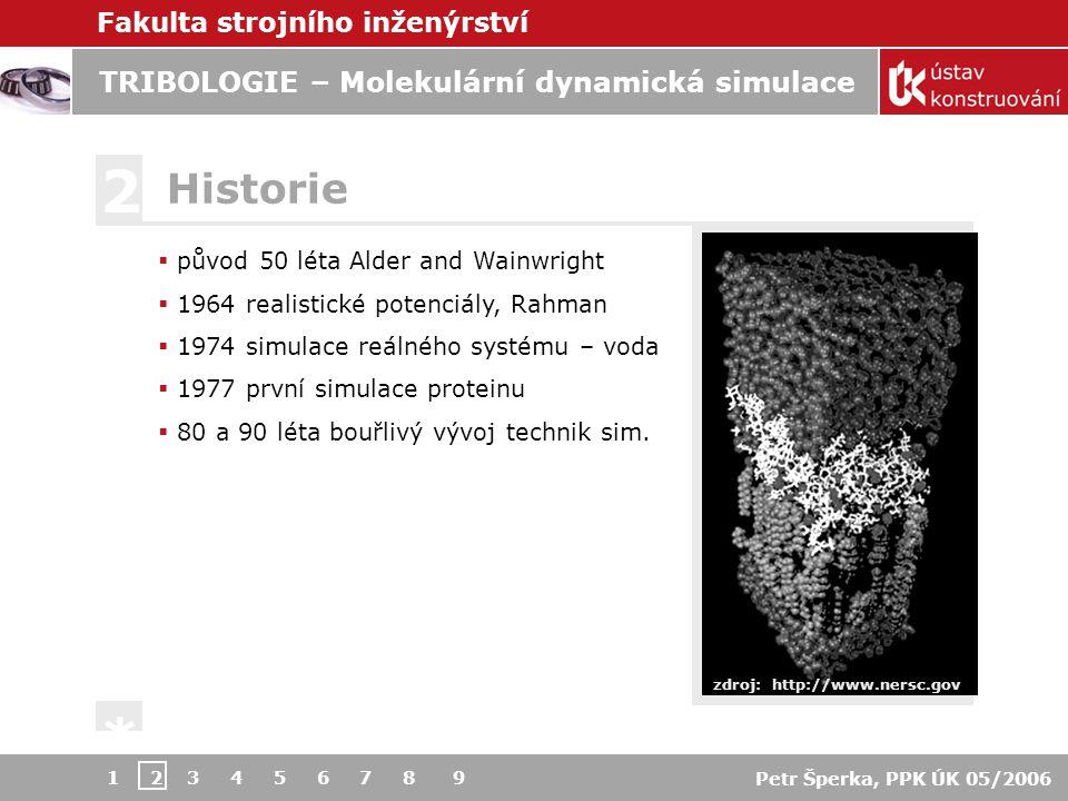 Fakulta strojního inženýrství Petr Šperka, PPK ÚK 05/2006 TRIBOLOGIE – Molekulární dynamická simulace 1 2 3 4 5 6 7 8 9  1D  Tomlinson model  Frenkel-Kontramova model  2D  zobecněný Tomlinson model  zobecněný Frenkel-Kontranova m.