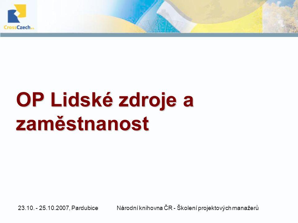 23.10. - 25.10.2007, PardubiceNárodní knihovna ČR - Školení projektových manažerů OP Lidské zdroje a zaměstnanost