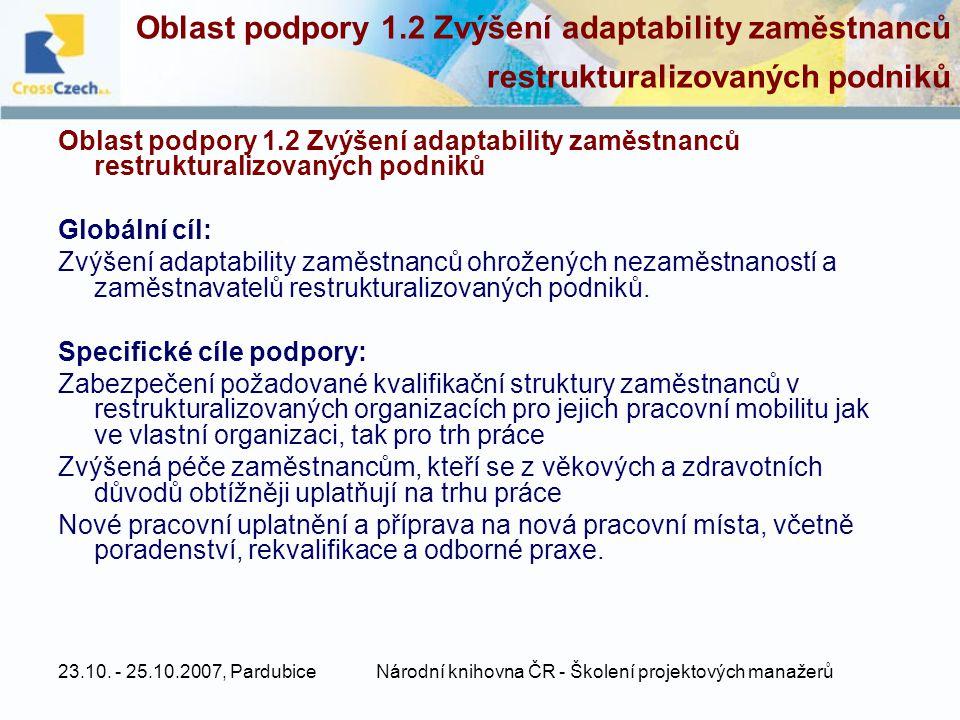 23.10. - 25.10.2007, PardubiceNárodní knihovna ČR - Školení projektových manažerů Oblast podpory 1.2 Zvýšení adaptability zaměstnanců restrukturalizov