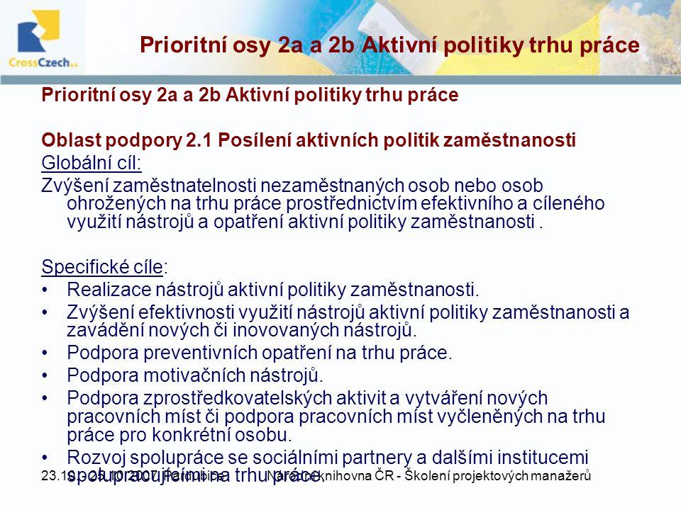 23.10. - 25.10.2007, PardubiceNárodní knihovna ČR - Školení projektových manažerů Prioritní osy 2a a 2b Aktivní politiky trhu práce Oblast podpory 2.1