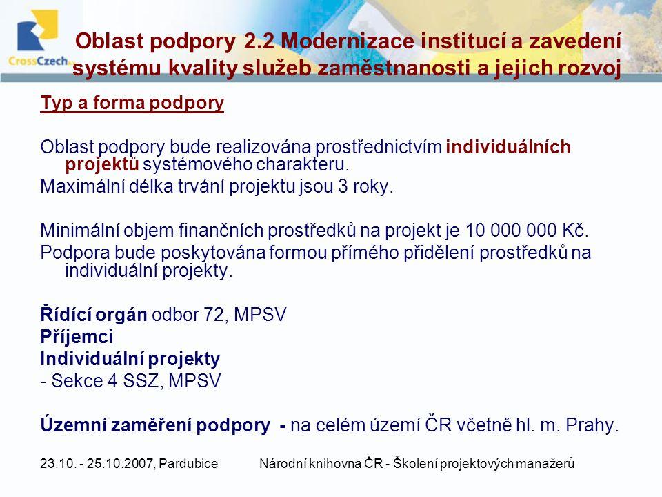23.10. - 25.10.2007, PardubiceNárodní knihovna ČR - Školení projektových manažerů Oblast podpory 2.2 Modernizace institucí a zavedení systému kvality