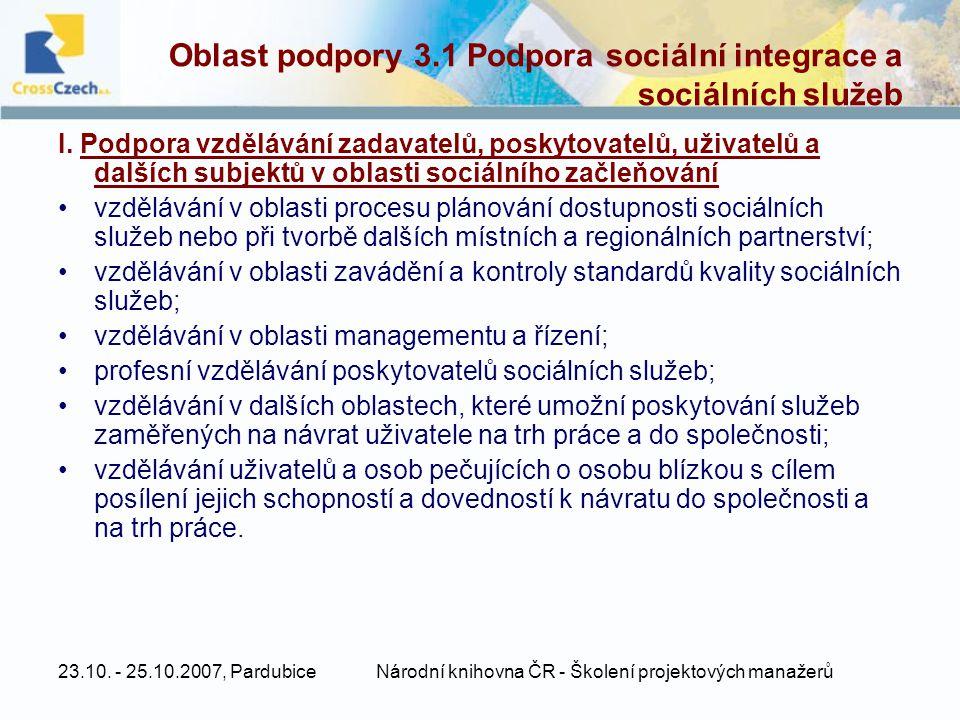 23.10. - 25.10.2007, PardubiceNárodní knihovna ČR - Školení projektových manažerů Oblast podpory 3.1 Podpora sociální integrace a sociálních služeb I.