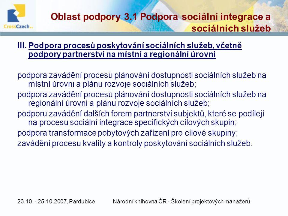23.10. - 25.10.2007, PardubiceNárodní knihovna ČR - Školení projektových manažerů Oblast podpory 3.1 Podpora sociální integrace a sociálních služeb II