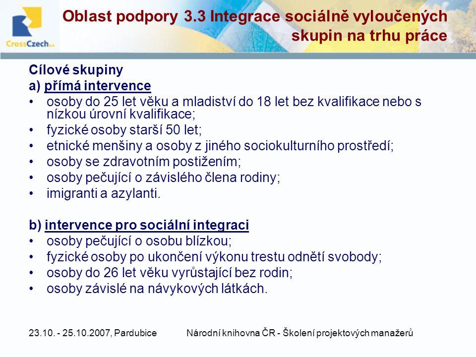 23.10. - 25.10.2007, PardubiceNárodní knihovna ČR - Školení projektových manažerů Oblast podpory 3.3 Integrace sociálně vyloučených skupin na trhu prá
