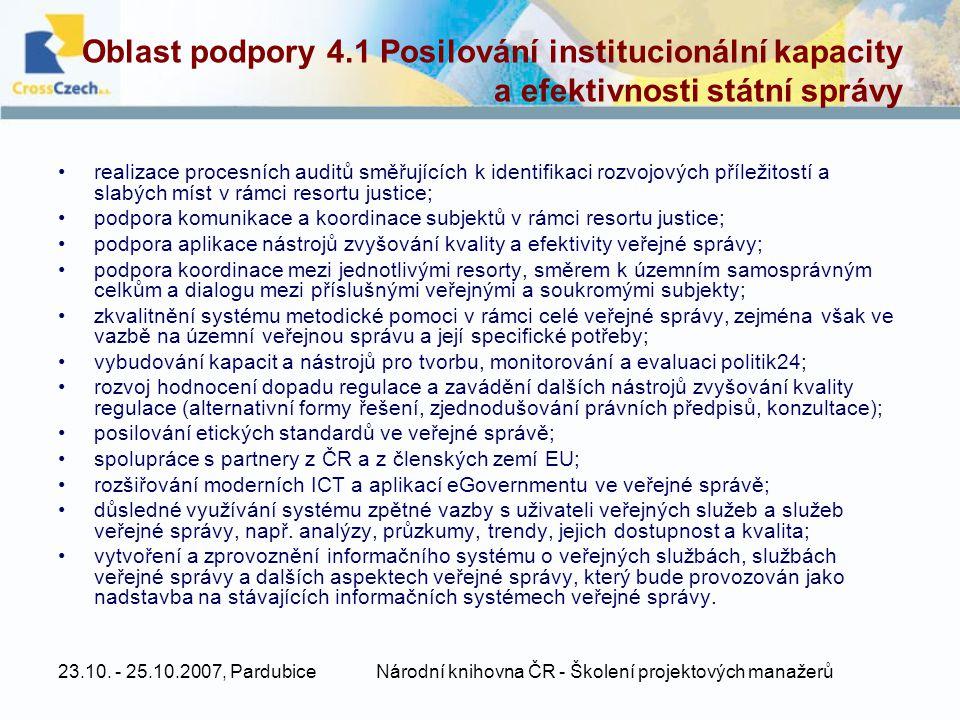23.10. - 25.10.2007, PardubiceNárodní knihovna ČR - Školení projektových manažerů Oblast podpory 4.1 Posilování institucionální kapacity a efektivnost