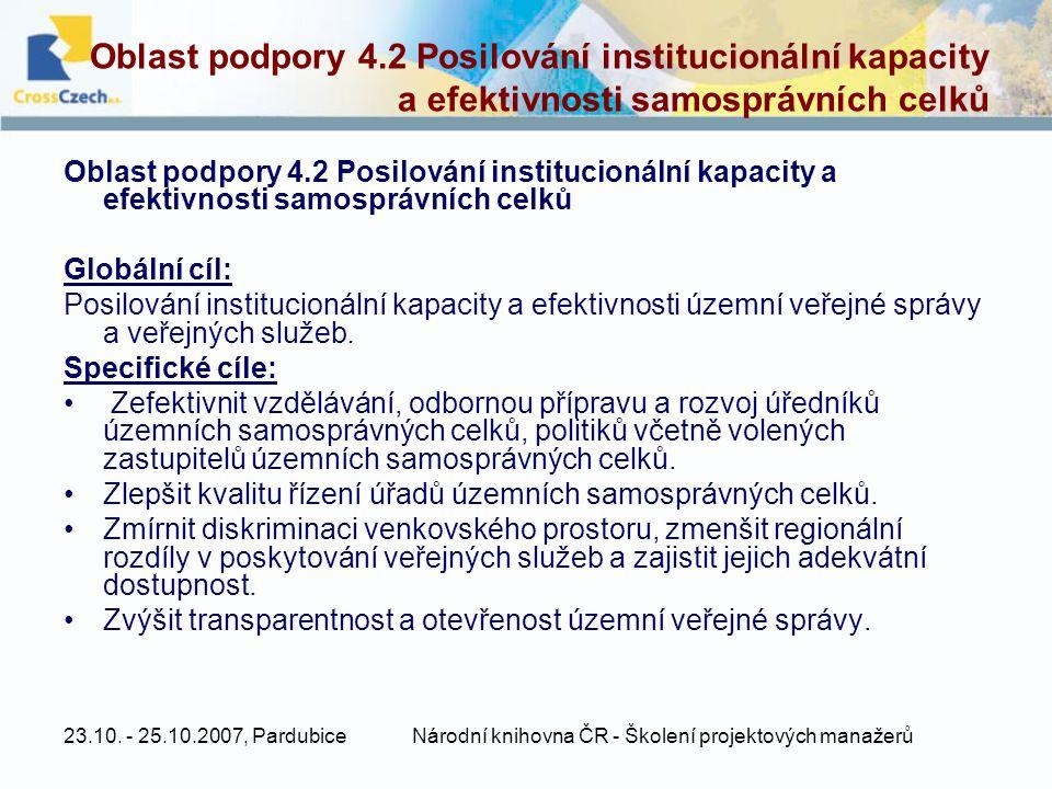 23.10. - 25.10.2007, PardubiceNárodní knihovna ČR - Školení projektových manažerů Oblast podpory 4.2 Posilování institucionální kapacity a efektivnost