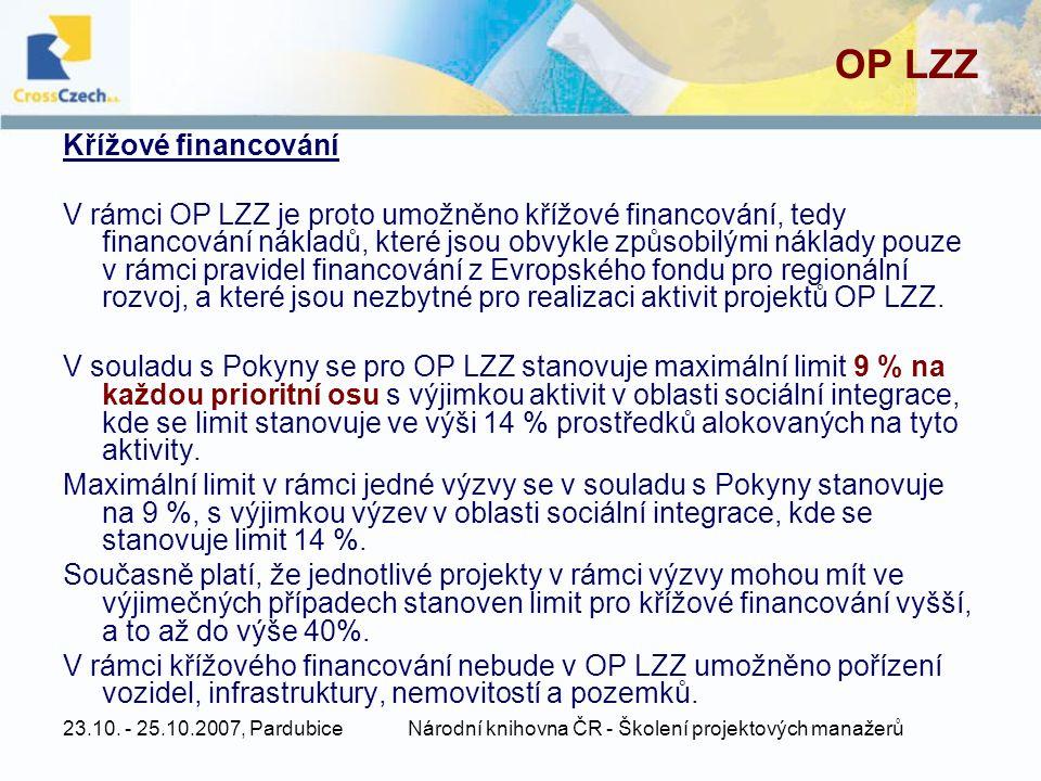 23.10. - 25.10.2007, PardubiceNárodní knihovna ČR - Školení projektových manažerů OP LZZ Křížové financování V rámci OP LZZ je proto umožněno křížové