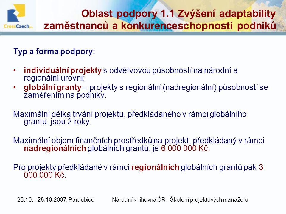 23.10. - 25.10.2007, PardubiceNárodní knihovna ČR - Školení projektových manažerů Oblast podpory 1.1 Zvýšení adaptability zaměstnanců a konkurencescho