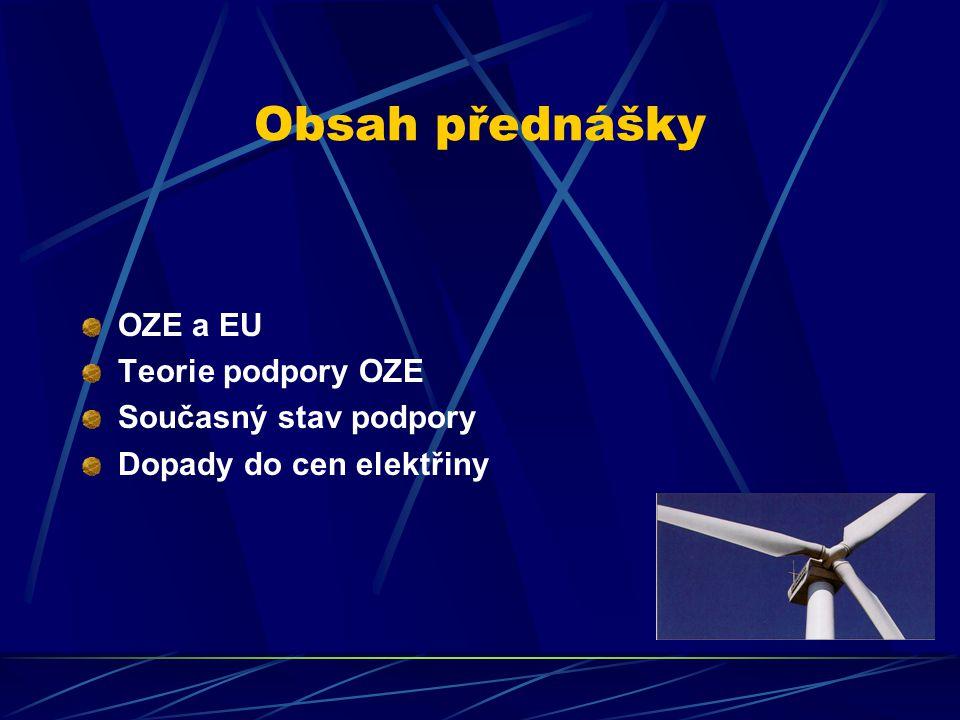 Obsah přednášky OZE a EU Teorie podpory OZE Současný stav podpory Dopady do cen elektřiny