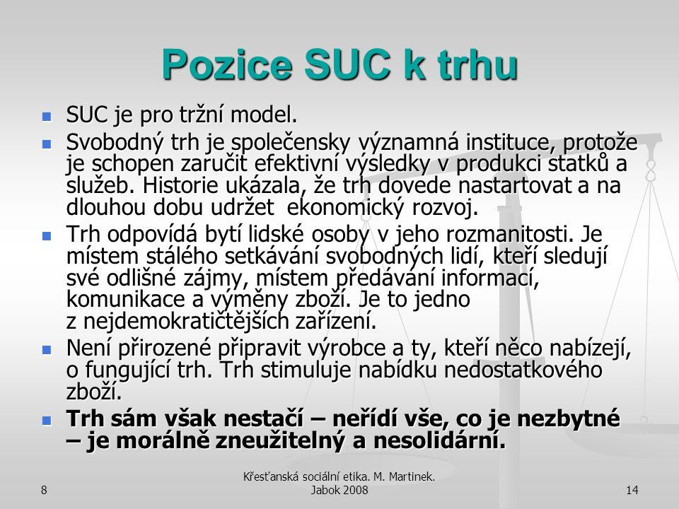 8 Křesťanská sociální etika. M. Martinek. Jabok 200814 Pozice SUC k trhu SUC je pro tržní model. SUC je pro tržní model. Svobodný trh je společensky v