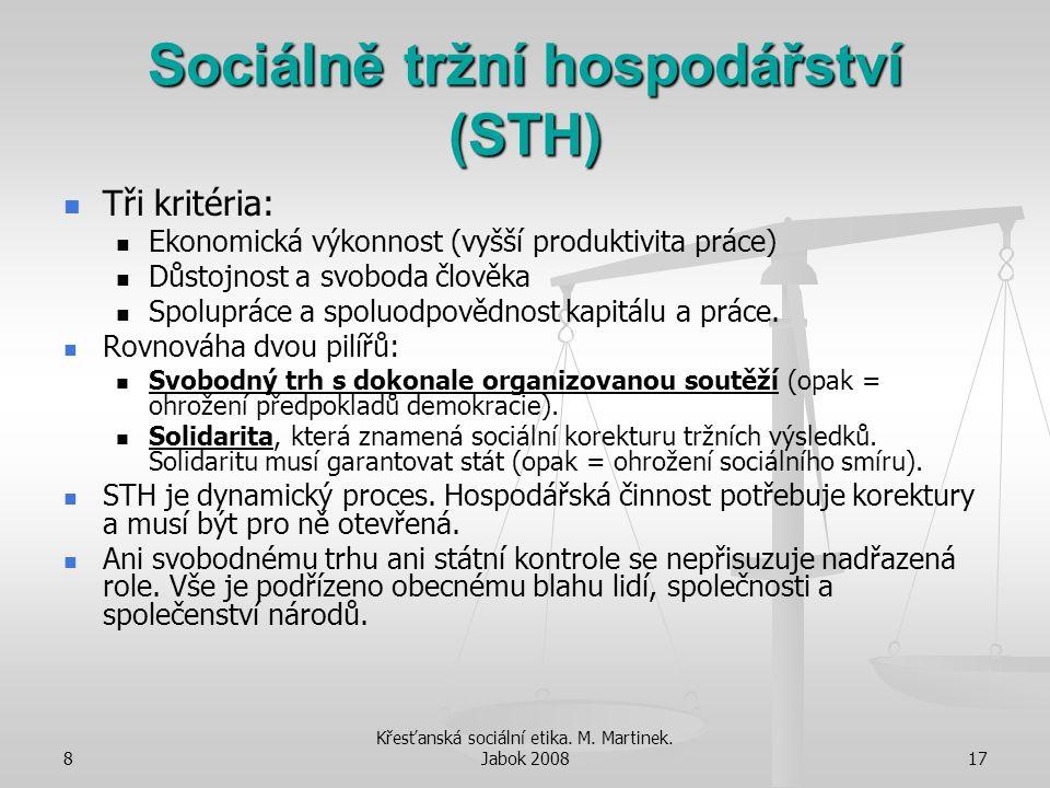 8 Křesťanská sociální etika. M. Martinek. Jabok 200817 Sociálně tržní hospodářství (STH) Tři kritéria: Ekonomická výkonnost (vyšší produktivita práce)