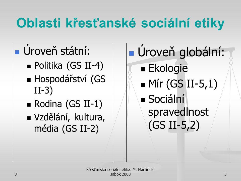 8 Křesťanská sociální etika. M. Martinek. Jabok 20083 Oblasti křesťanské sociální etiky Úroveň státní: Politika (GS II-4) Hospodářství (GS II-3) Rodin