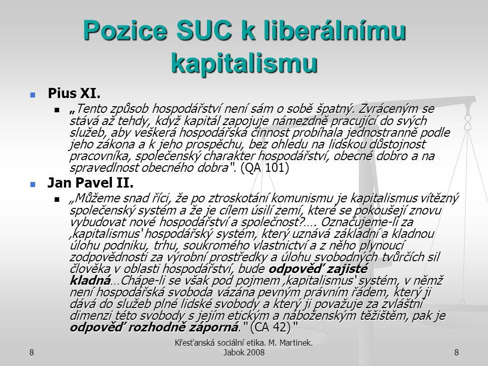 """8 Křesťanská sociální etika. M. Martinek. Jabok 20088 Pozice SUC k liberálnímu kapitalismu Pius XI. Pius XI. """"Tento způsob hospodářství není sám o sob"""