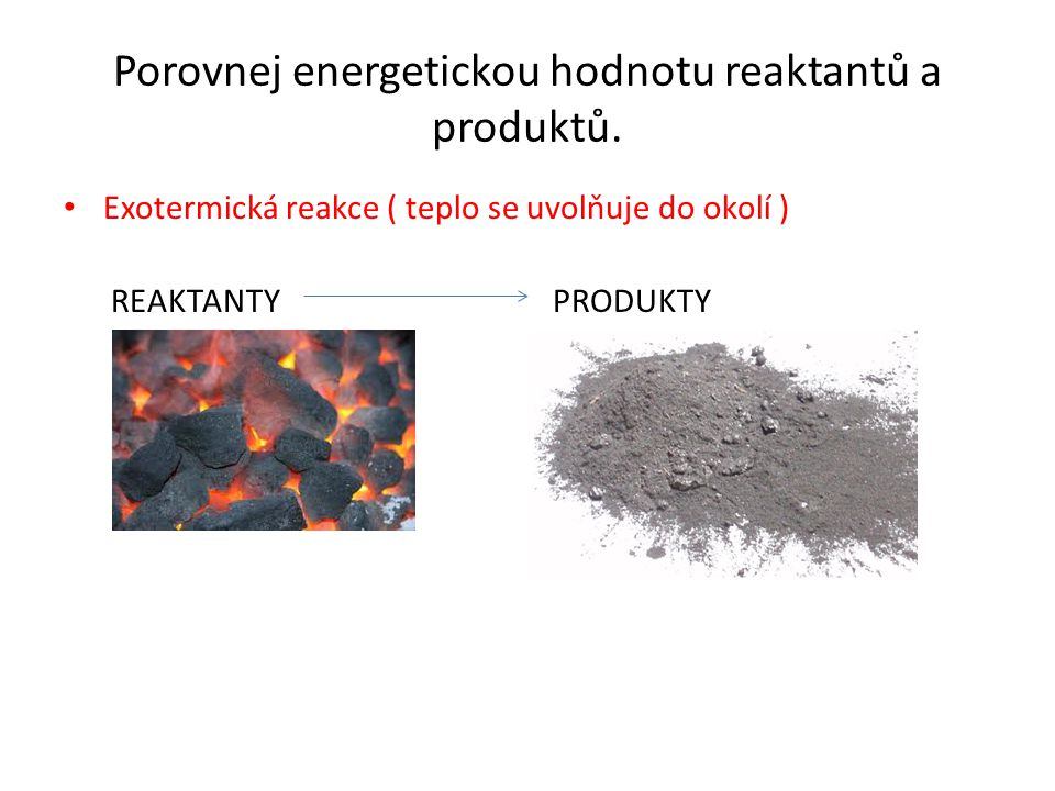 Porovnej energetickou hodnotu reaktantů a produktů. Exotermická reakce ( teplo se uvolňuje do okolí ) REAKTANTY PRODUKTY
