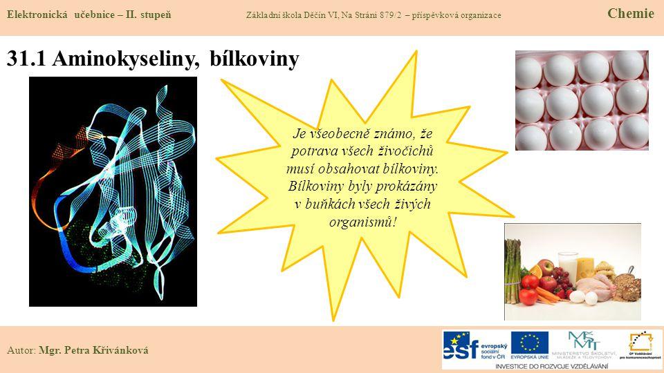 31.1 Aminokyseliny, bílkoviny Elektronická učebnice – II. stupeň Základní škola Děčín VI, Na Stráni 879/2 – příspěvková organizace Chemie Autor: Mgr.