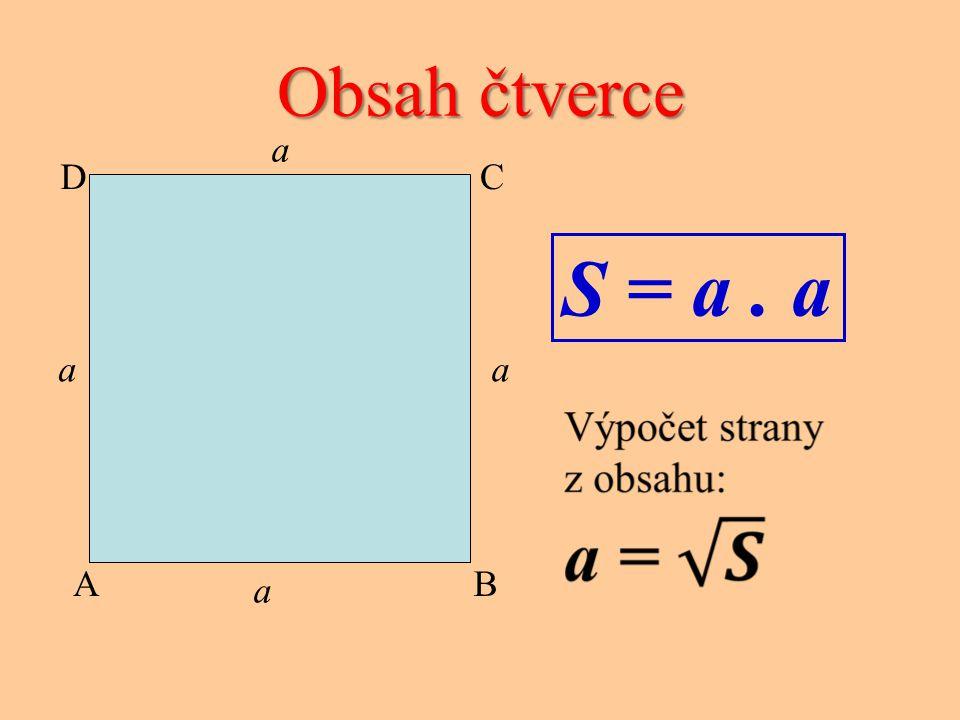Obsah čtverce S = a. a CD AB a a a a