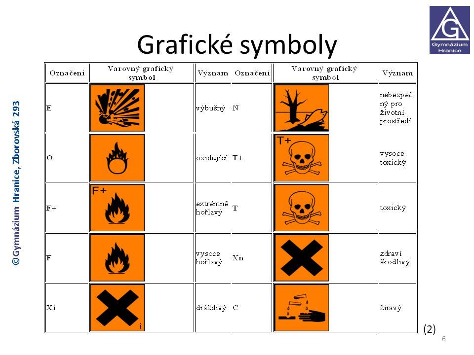 Grafické symboly – nová forma 7 ©Gymnázium Hranice, Zborovská 293 (3) Symboly platné od 1.června 2015, od roku 2010 platí původní i nová forma symbolů.